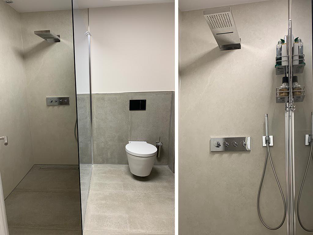 Sanitär Einrichtung und Gestaltung von edel und luxus bäder in Bruchsal bei der Firma Nagel Haustechnik in Bruchsal bei Karlsruhe. Badezimmer in Beton Optik sehr modern